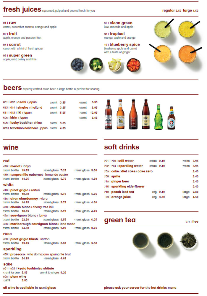 Wagamama Prices Drinks