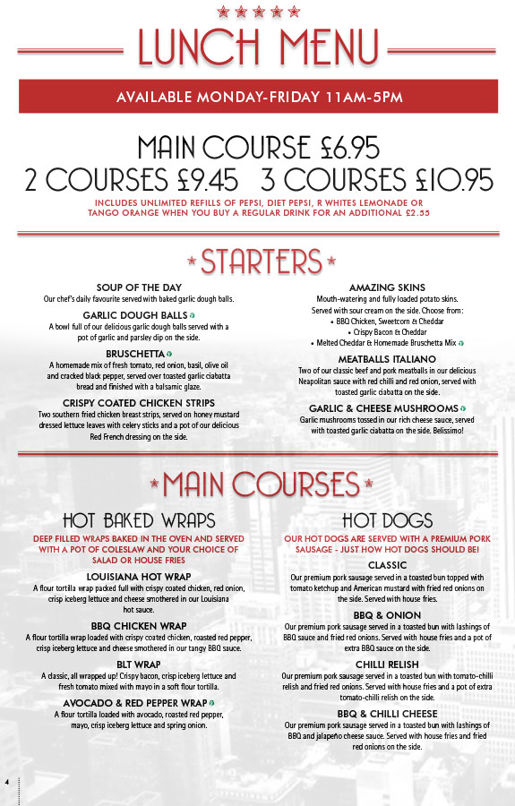 Lunch - Lunch Menu - Starters and Mains