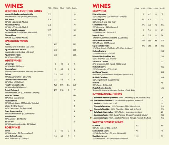 Wine list wine list for Table 52 wine list