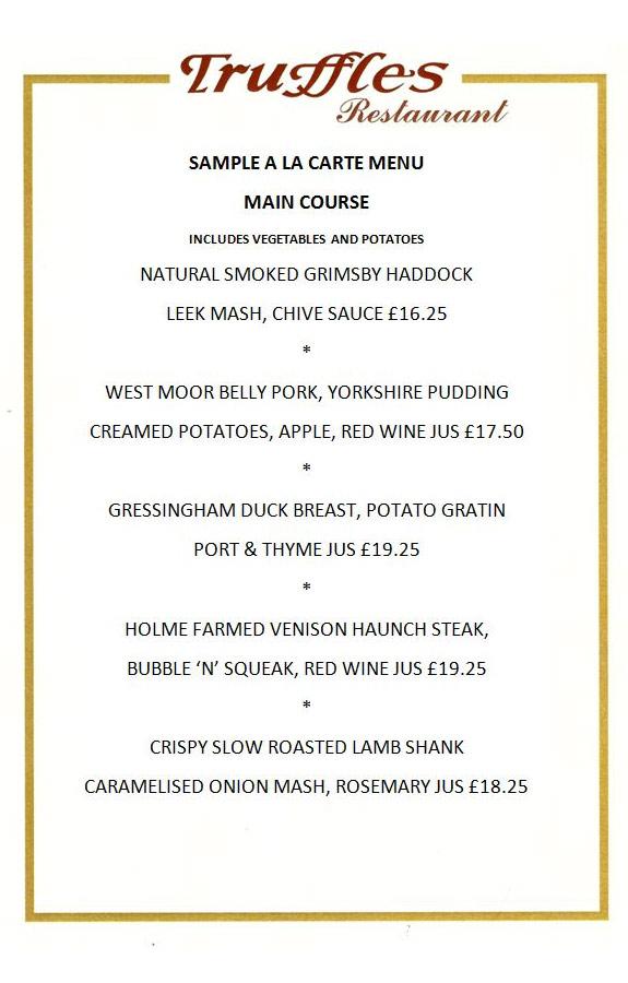 example of restaurant menu