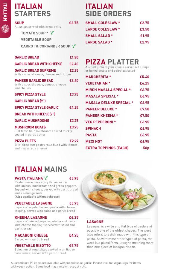 A La Carte  Italian Menu
