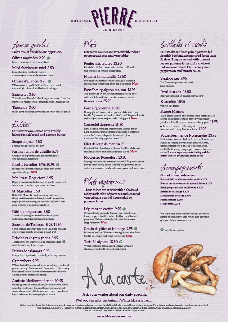 Restaurant Le  Menu