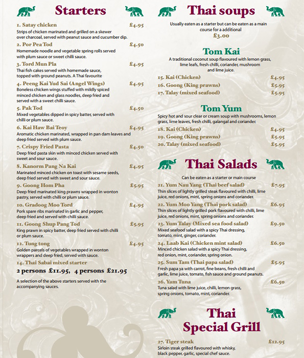 Thai Restaurant Menu