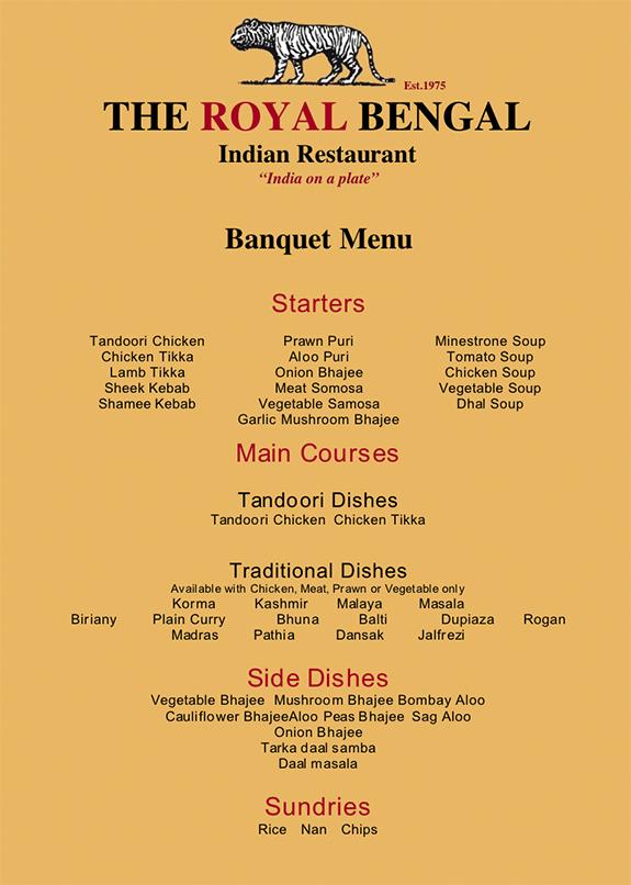 Set menu banquet menu menu for Arman bengal cuisine dinas menu