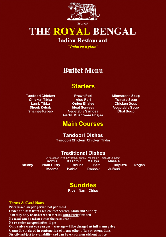 Buffet menu buffet menu menu for Arman bengal cuisine dinas menu