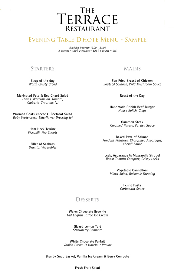 a la carte main menu