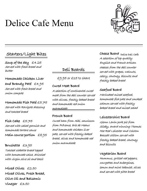 Deleece Restaurant Menu