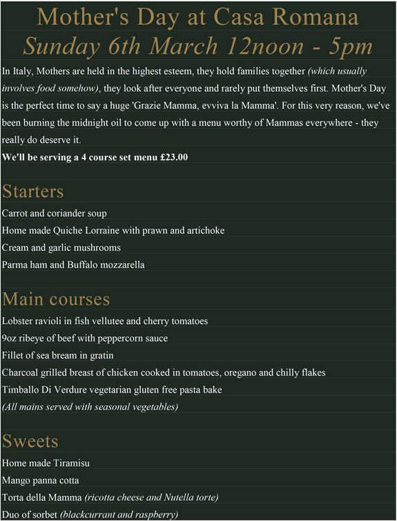 Mother's Day - Mother's Day Menu