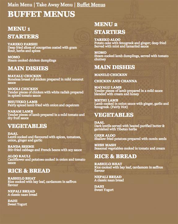 Buffet menu buffet menu for Kitchen table cafe menu