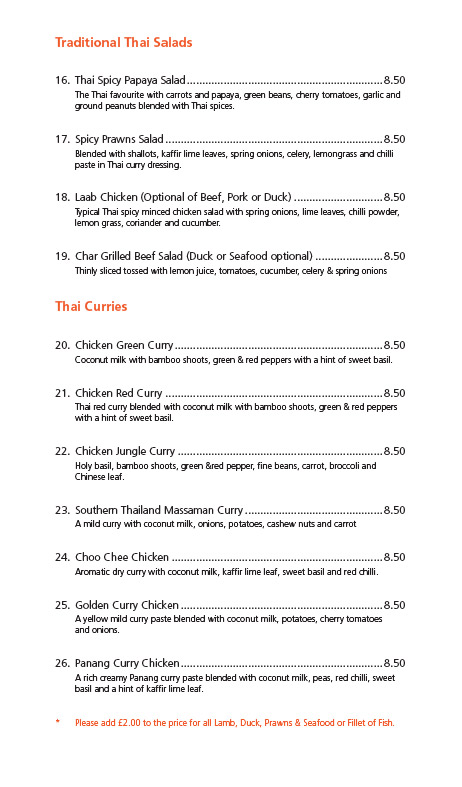 Derby Thai Restaurant Menu