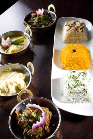 Food from the Curry Lounge restaurant
