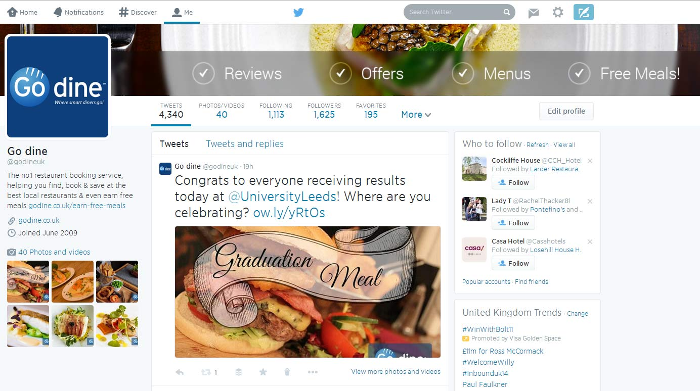 Go Dine Twitter Feed - Social Media Marketing for Restaurants
