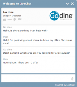 Live Chat at Go dine